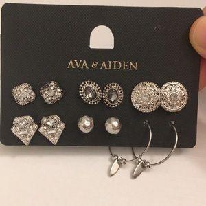 Ava & Aiden silver earring set